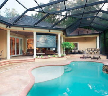 Picture showing possibilities of bring projector screens and tv options to your outdoor pool lanai.