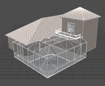 A screen capture showing the concept development and CAD modeling of a screen room project.